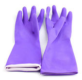 Color cleaning gloves isolated on white — Stock Photo