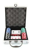 Poker set in metallic case isolated on white background — Stock Photo