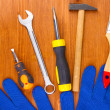 Set of tools and instruments on wooden background - Stockfoto