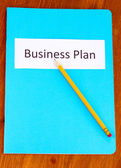 Blue folder labeled business — Stock Photo