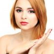 Portrait of sexy young woman with glamour make up and red manicure — Stock Photo
