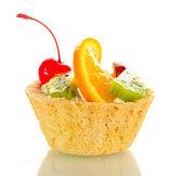 Sweet cake with fruits isolated on white — Stock Photo