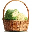 Fresh cauliflowers in basket, isolated on white - Stock Photo