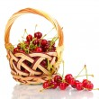 Royalty-Free Stock Photo: Ripe cherry berries in basket isolated on white
