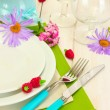 Stock Photo: Beautiful holiday table setting with flowers