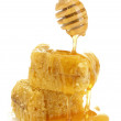 Golden honeycombs and wooden drizzler with honey isolated on white — Stock Photo