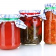 Stock Photo: Jars with canned vegetables isolated on white