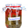 Jar with canned tomatoes isolated on white — Stock Photo #11484545