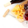 Bottle of great wine with wineglass and cheese isolated on white — Stock Photo #11484896