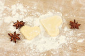 Molded the dough with anise on wooden table close-up — Stock Photo