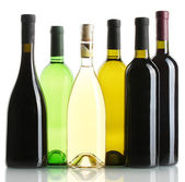 Bottles of wine isolated on white — Stock Photo