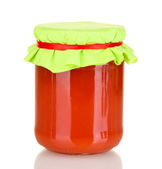 Jar with tomato paste isolated on white — Stock Photo