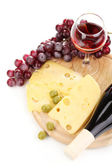 Bottle of great wine with wineglass and cheese isolated on white — Stock Photo