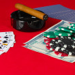 The red poker table with open playing cards — Stock Photo #11499197