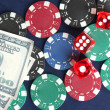 Frame made of poker chips, playing cards and dollars on the blue background close-up — Foto Stock