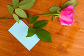 Hermosa rosa sobre fondo de madera — Foto de Stock