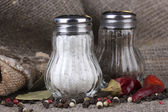 Salt and pepper mills and spices on burlap background — Stock Photo
