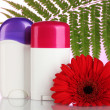 Deodorants with flower and green leaf on pink background - Foto Stock