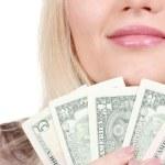 Business woman holding money closeup — Stock Photo #11508524