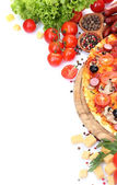 Delicious pizza, vegetables and salami isolated on white — Stock Photo