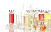 Tablets and ampoules isolated on white — Stock Photo