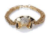 Linda pulseira de ouro com pedras preciosas, isolado no branco — Foto Stock