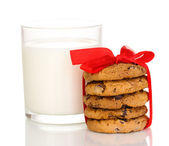 Glass of milk and cookies isolated on white — Stock Photo