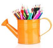 水まき缶を白で隔離される色鉛筆 — ストック写真