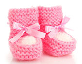 Pink baby boots isolated on white — 图库照片