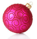 Beautiful pink Christmas ball isolated on white — Stock Photo