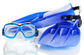 Blue flippers and mask isolated on white — Stock Photo