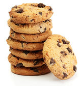 Chocolate chips cookies isolated on white — Stock Photo