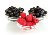Fresh berries in transparent bowls isolated on white — Stock Photo