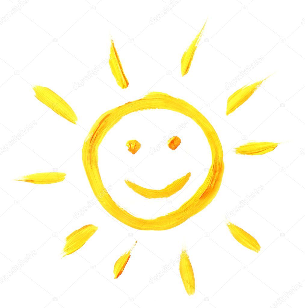 明亮的太阳画上孤立的白