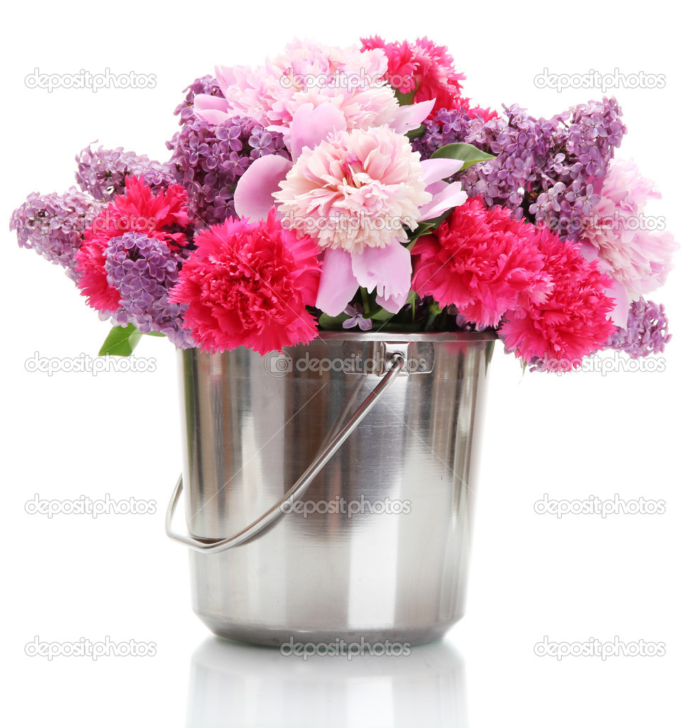 Beautiful spring flowers in metal bucket isolated on white ...