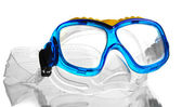 Blue swim goggles isolated on white — Stock fotografie
