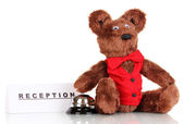 Toy bear and bell isolated on white — Stok fotoğraf