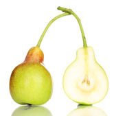 Ripe pear and half isolated on white — Stock Photo