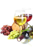 Barrel, bottle and glasses of wine and ripe grapes isolated on white — Stock Photo