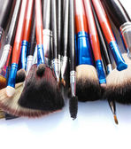 Make-up brushes isolated on white — 图库照片