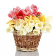 Beautiful tulips in basket isolated on white — Stock Photo #11547850