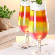 Fruit jelly in glasses on tabla in cafe - Stockfoto