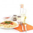 Composition of delicious cooked spaghetti with tomato sauce isolated on white - Stockfoto