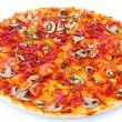 Delicious pizza with vegetables and  salami isolated on white - 图库照片