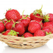 Sweet ripe strawberries in basket isolated on white — Stock Photo #11552481