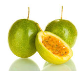 Green passion fruit isolated on white background close-up — Stock Photo