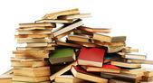 Eski kitaplar üzerinde beyaz izole — Stok fotoğraf