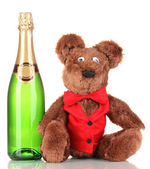 Toy bear and bottle of champagne isolated on white — Stock Photo