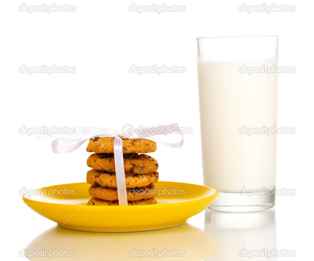Glass of milk and cookies isolated on white  Stock Photo #11562705