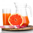 Stock Photo: Grapefruit juice and grapefruit isolated on white
